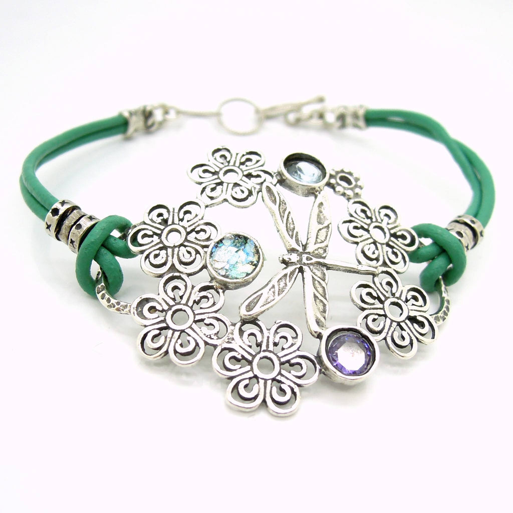 Bracelet - Dragonfly Bracelet With Leather, Sterling Silver And Gemstones