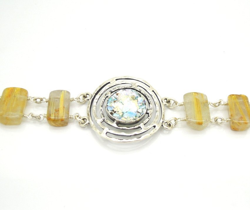 Bracelet - Large Gemstone Bracelet With Rutile Quartz And Roman Glass
