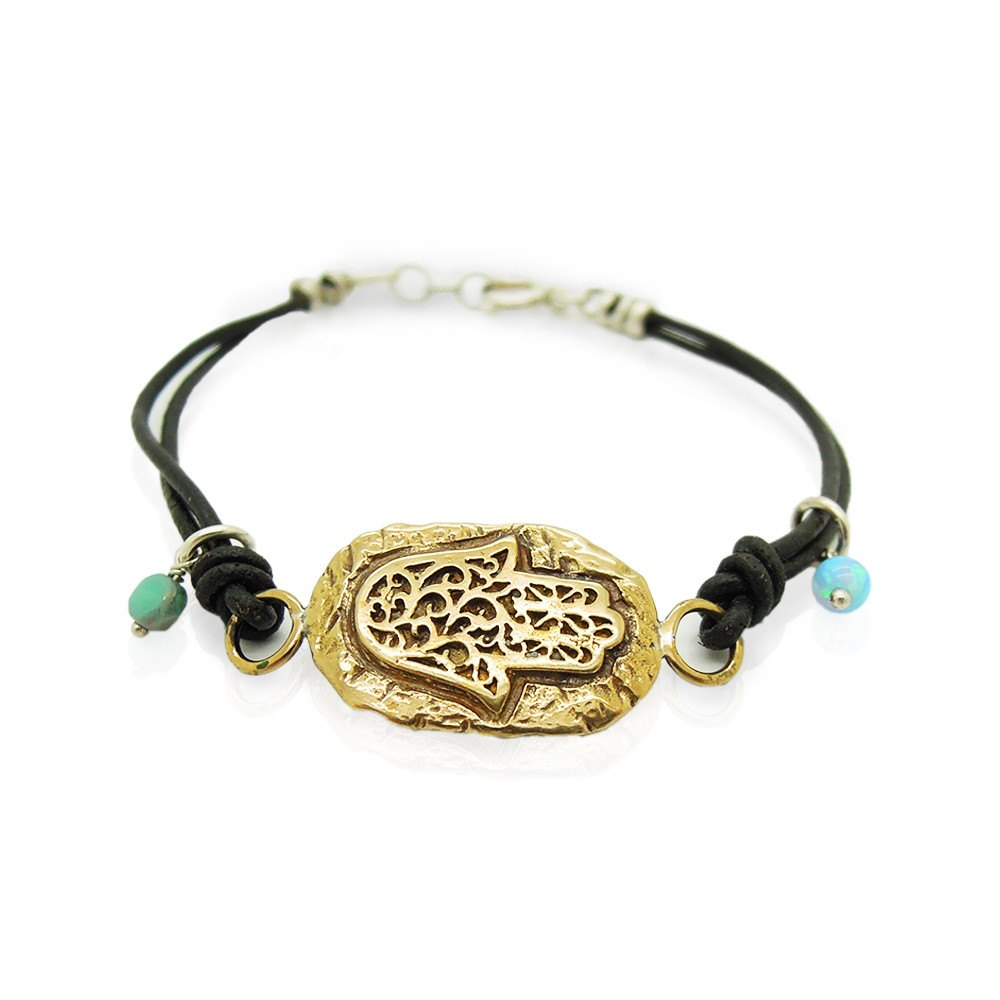 Bracelet - Leather Bracelet With A Brass Hamsa Hand, Ancient Hebrew Script And Mosaic Opal Beads