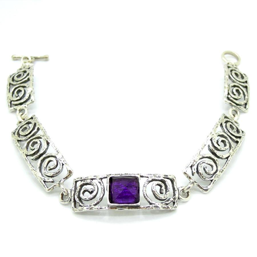 Bracelet - Silver Bracelet With Purple Zircon - Spiral Design