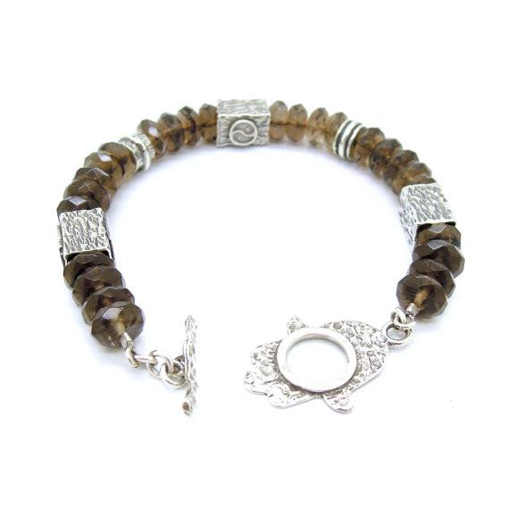Bracelet - Smokey Quartz Bracelet With A Hamsa Hand Closer And Yin Yang Shapes