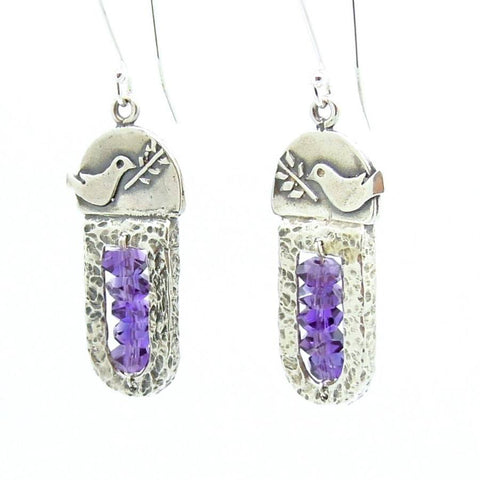Bracelet - Sterling Silver & Amethyst Earrings With A Dove Holding A Tree Branch