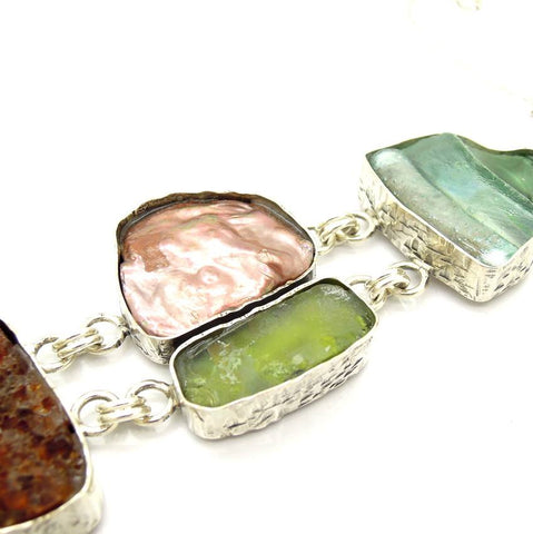 Bracelet  - Unique Roman Glass Silver Bracelet With Gemstones