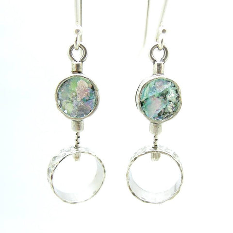 Earrings - 2 Circle Silver Earrings With Roman Glass