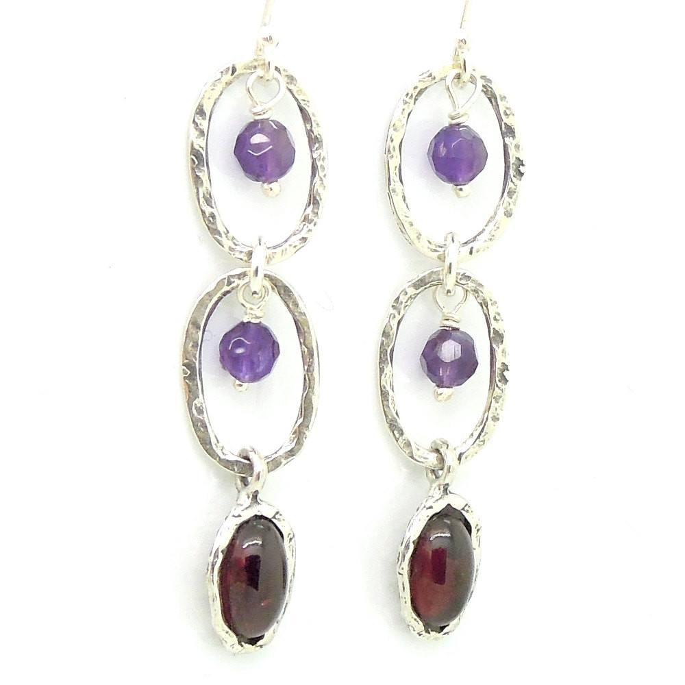 Earrings - Amethyst And Garnet Chandelier Silver Earrings