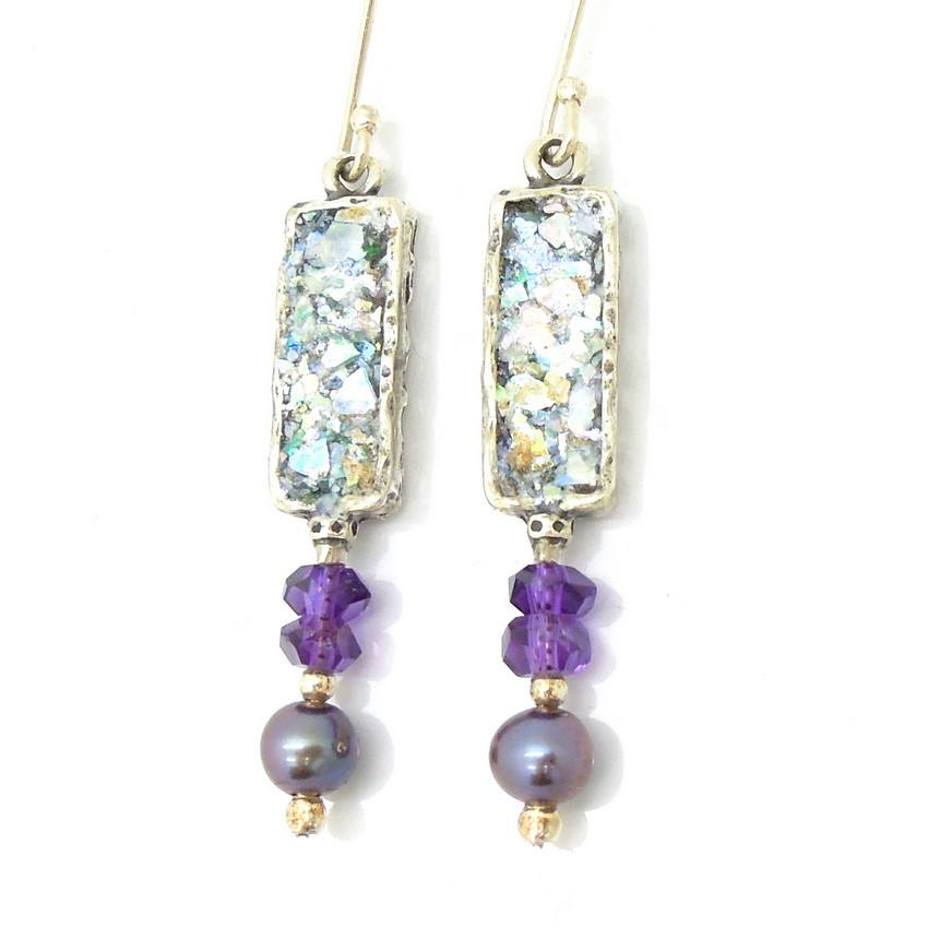 Earrings - Amethyst And Grey Pearl Roman Glass Earrings