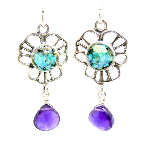 Earrings - Amethyst Earrings Flower Shaped With Authentic Roman Glass