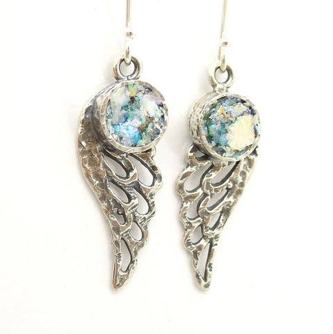 Earrings - Angel Wings Earrings With Roman Glass