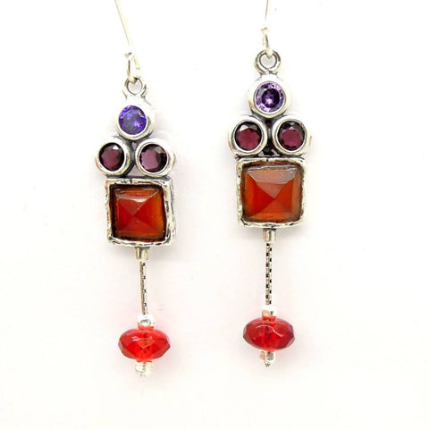 Earrings - Carnelian, Garnet And Zircon Chandelier Silver Earrings