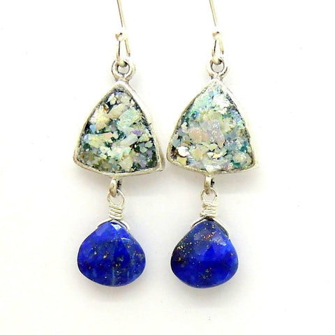 Earrings - Chandelier Roman Glass Earrings With Hanging Lapis Lazuli