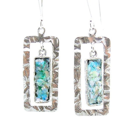 Earrings - Chandelier Silver Earrings With Roman Glass