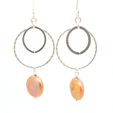 Earrings - Coin Pearl Chandelier Sterling Silver Earrings