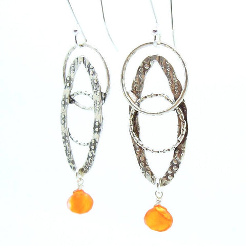 Earrings - Cornelian Oval Sterling Silver Earrings