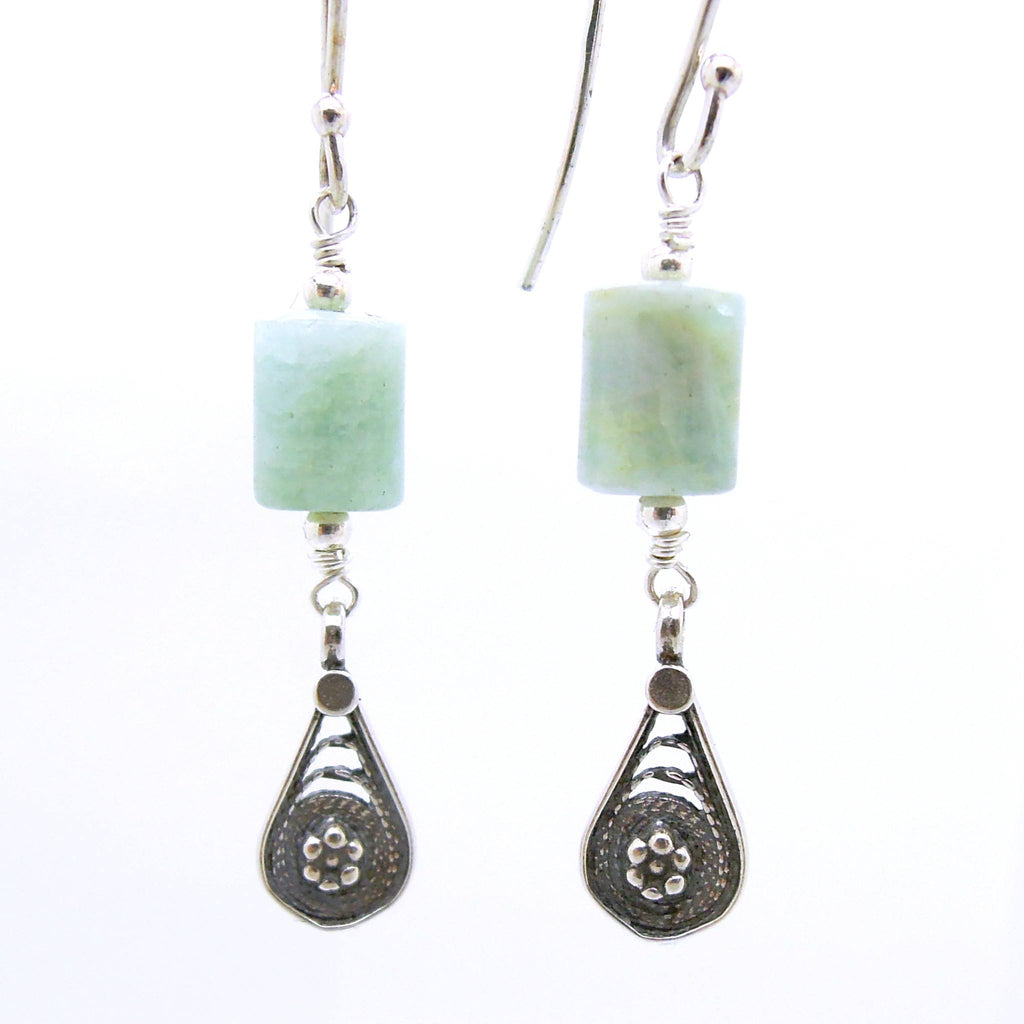 Earrings - Dangle Aquamarine Earrings With Flower Shapes In Silver