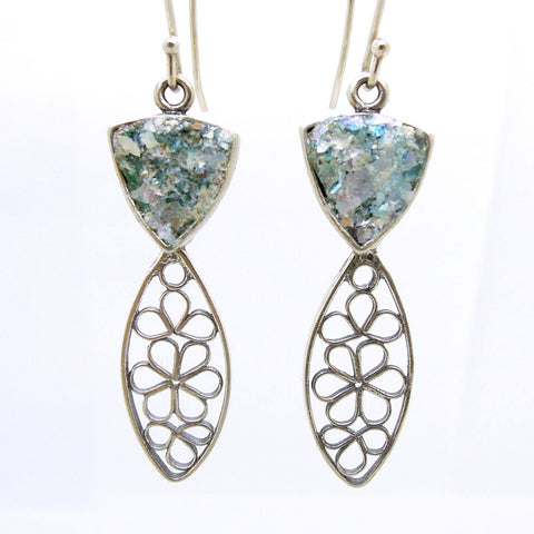 Earrings - Dangle Earrings With Flower Shapes In Silver & Roman Glass
