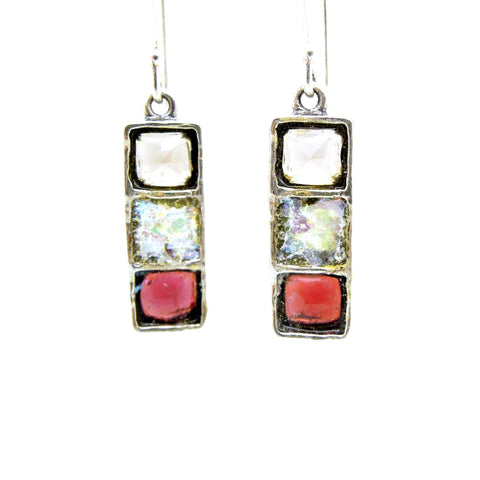 Earrings - Dangle Earrings With Smokey Quartz, Roman Glass & Garnet Set In Silver
