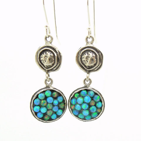 Earrings - Dangle Opal Earrings Set In Sterling Silver