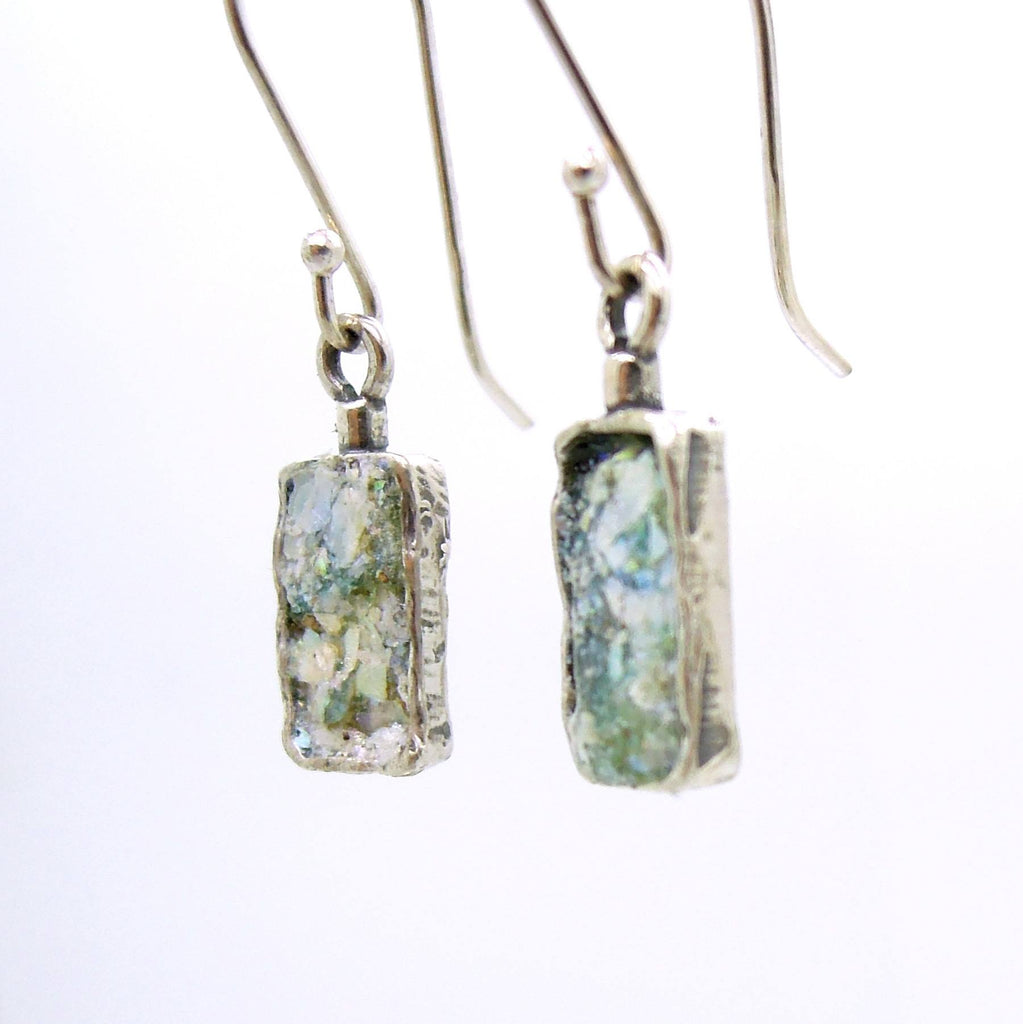 Earrings - Dangle Silver Earrings With Roman Glass
