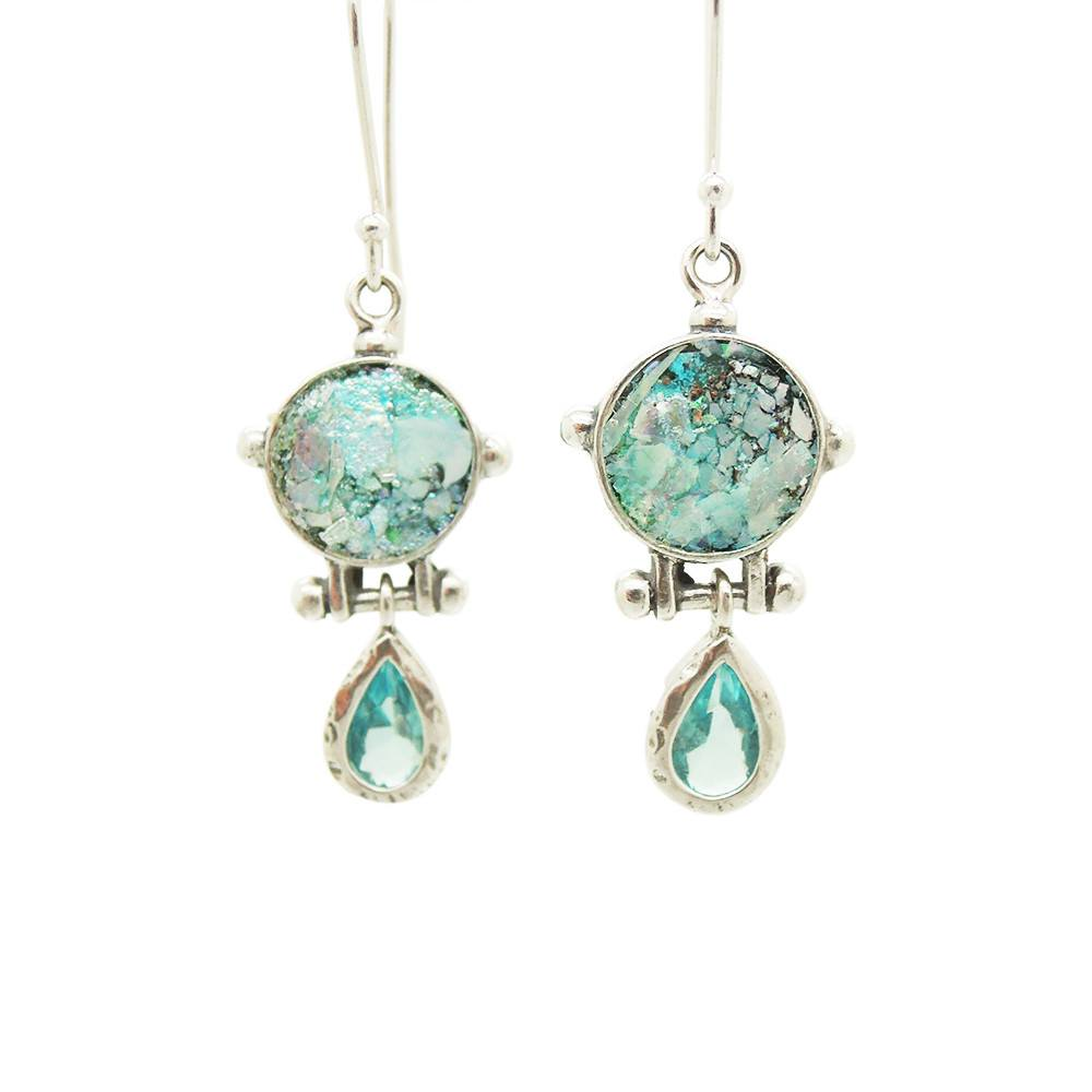 Earrings - Drop Earrings With Blue Zircon & Roman Glass