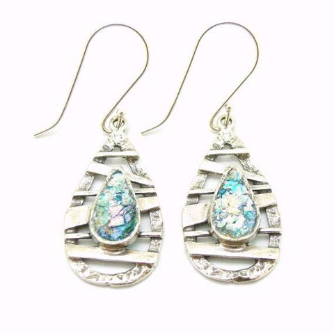 Earrings - Drop Shape Earrings With Silver Bars And Roman Glass