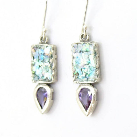 Earrings - Drop Shaped Purple Zircon And Roman Glass Earrings