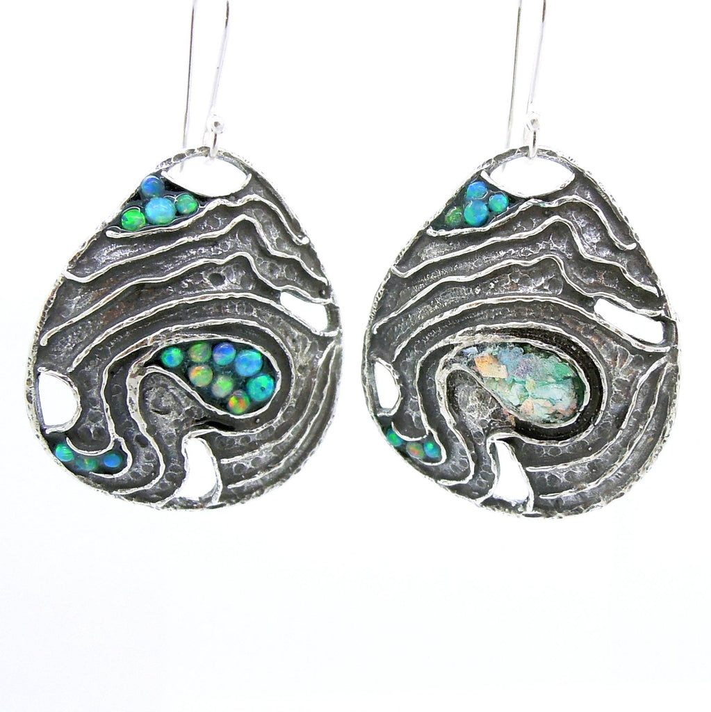Earrings - Drop Shaped Silver Earrings With Mosaic Opal & Roman Glass Landscape Pattern