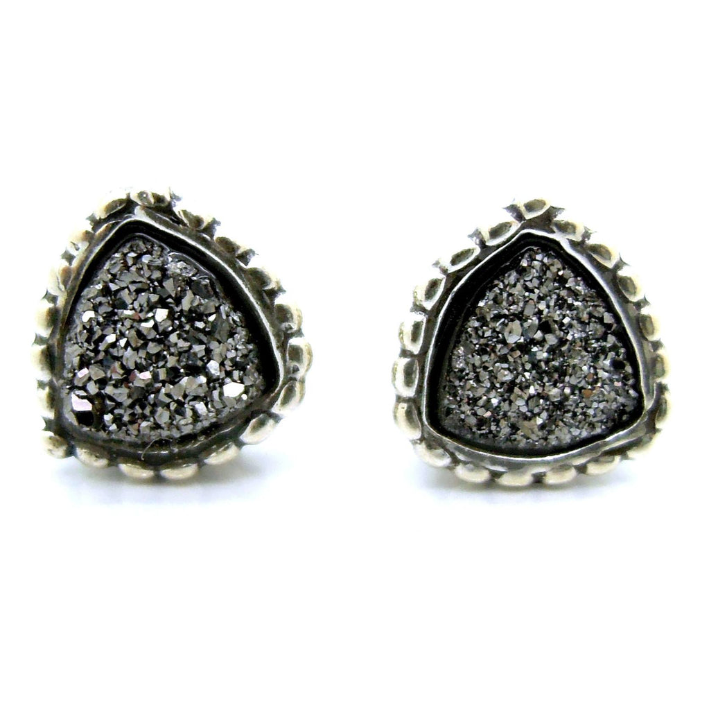 Earrings - Druzy Stud Earrings Set In Sterling Silver, Triangle Shape