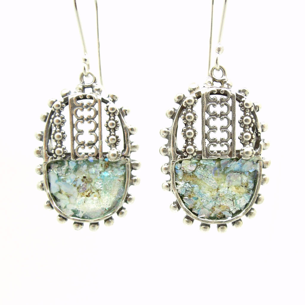Earrings - Filigree Sterling Silver Oval Earrings With Roman Glass