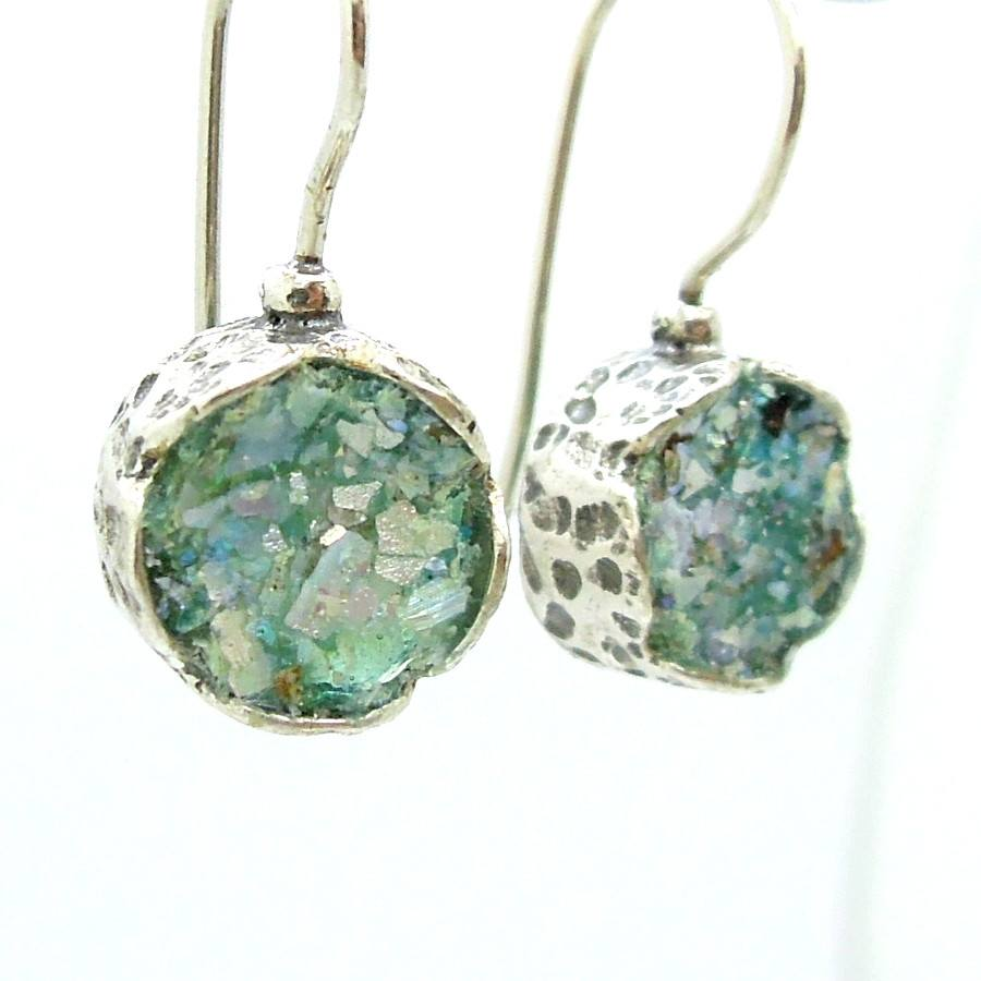 Earrings - Flower Shaped Roman Glass Earrings In Sterling Silver
