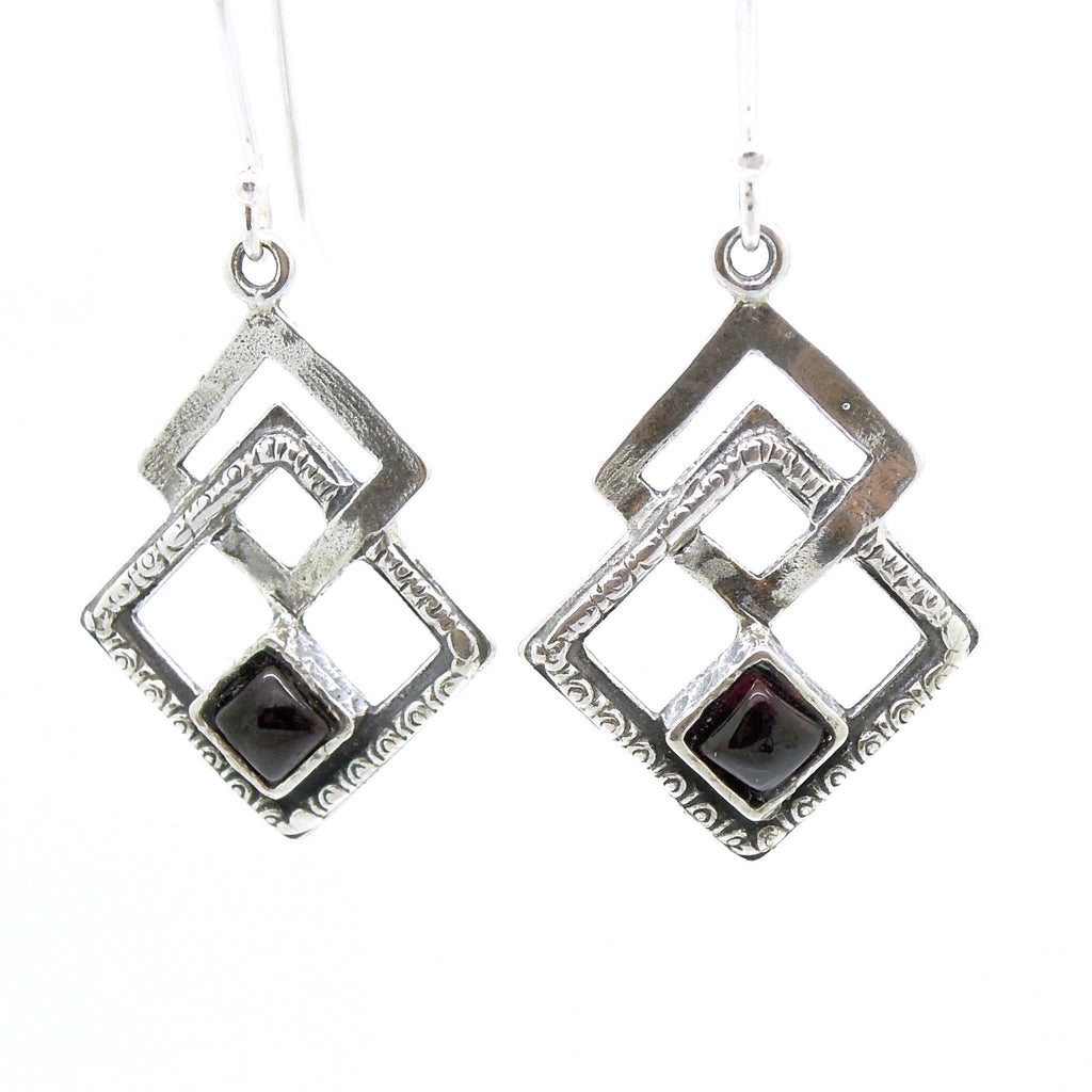 Earrings - Garnet Earrings With Gemstones Set In Sterling Silver