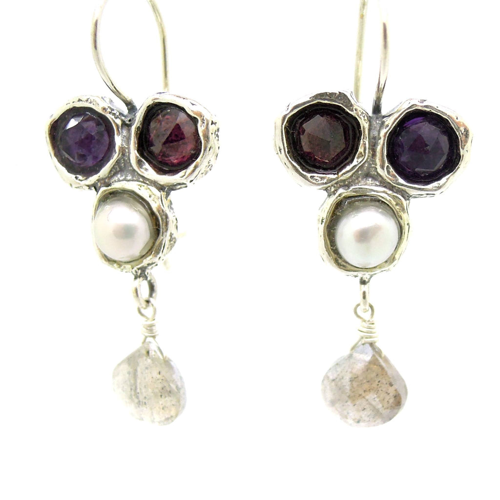 Earrings - Gemstone Earrings Set In Sterling Silver With A Garnet, Purple Zircon, White Pearl And A Labradorite