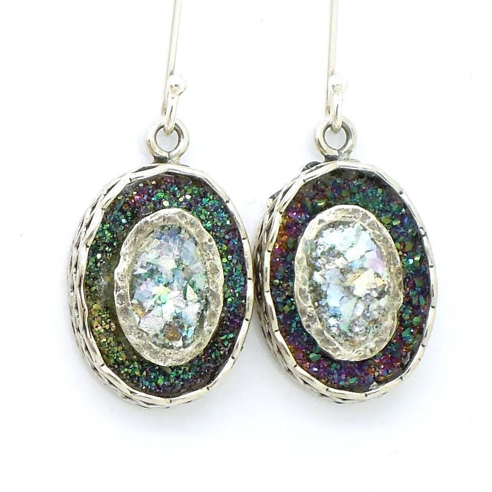 Earrings - Gemstone Earrings With Green Druzy Agate & Roman Glass