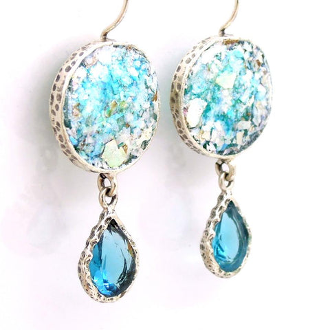 Earrings - Glass & Blue Zircon Drop Earrings