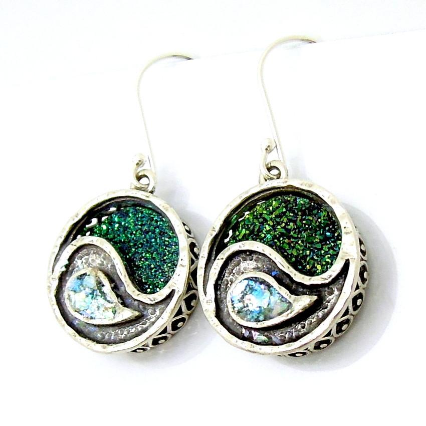 Earrings - Green Druzy Agate And Roman Glass Yin Yang Earrings