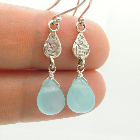 Earrings - Green Quartz Drop Sterling Silver Earrings