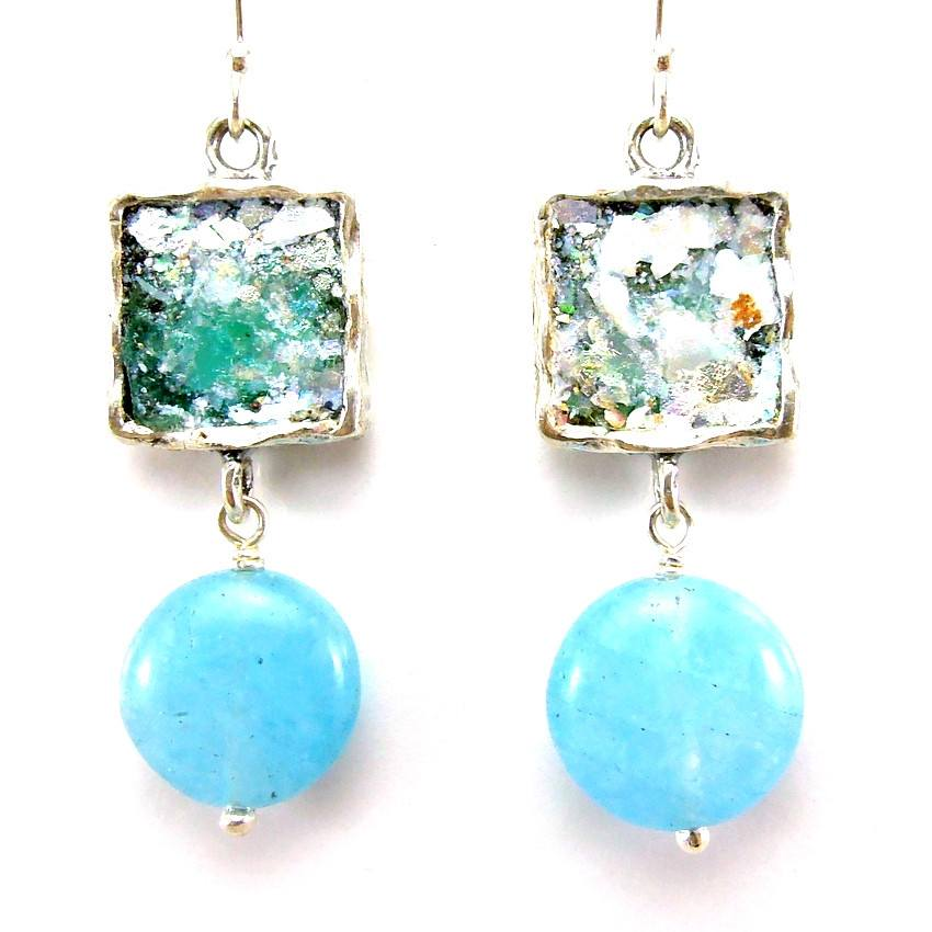Earrings - Hanging Aquamarine And Roman Glass Silver Earrings