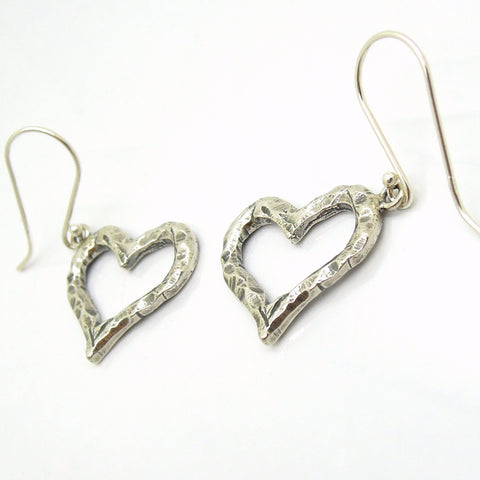 Earrings - Heart Earrings, Dangle, Hammered Silver