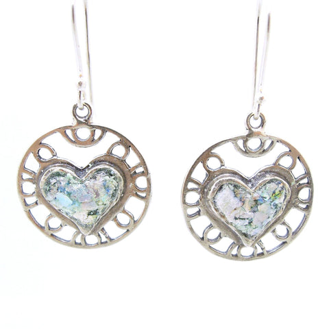 Earrings - Heart Earrings, Filigree Design With Roman Glass, Sterling Silver Frame