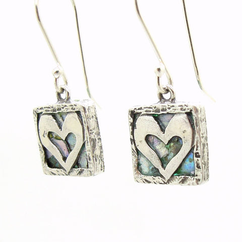 Earrings - Heart Earrings, Hammered Silver With Roman Glass