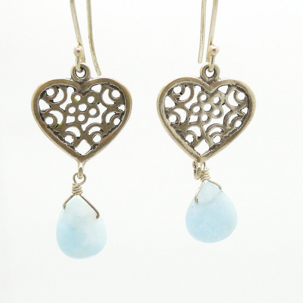Earrings - Heart Earrings With Aquamarine And Filigree Design