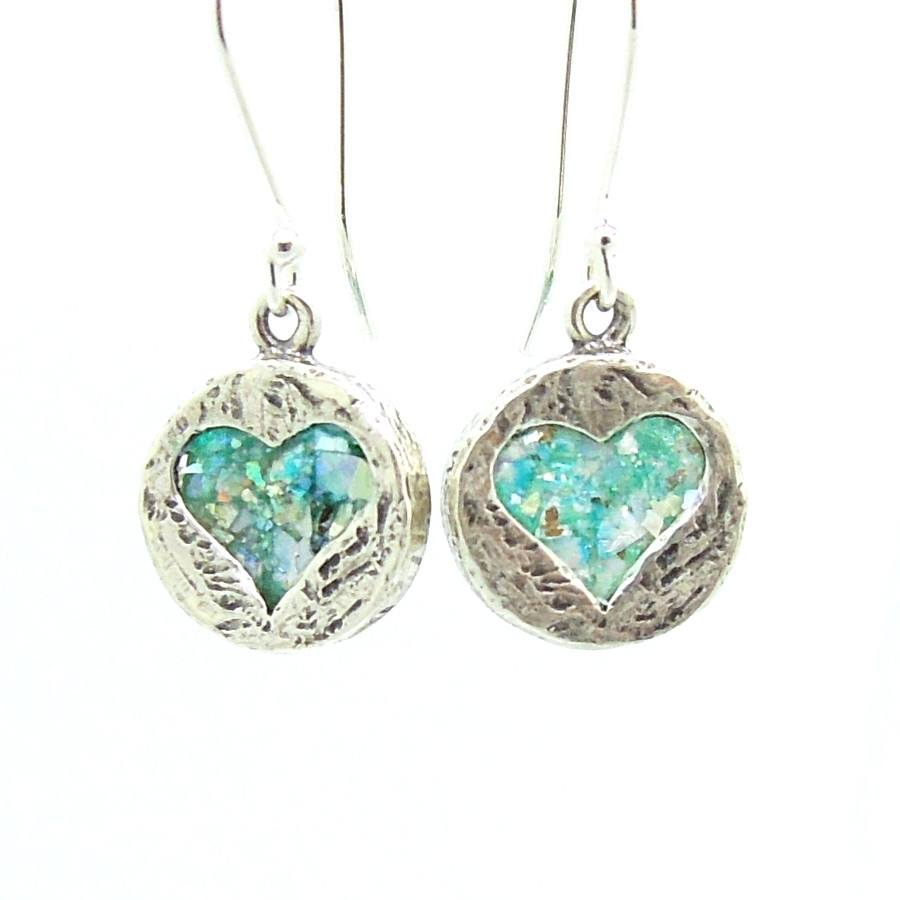 Earrings - Heart Shaped Silver Earrings With Roman Glass