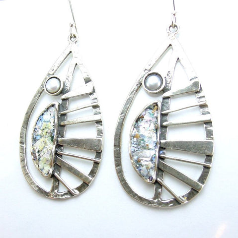 Earrings - Leaf Shape Large Pearl Silver Earrings With Roman Glass