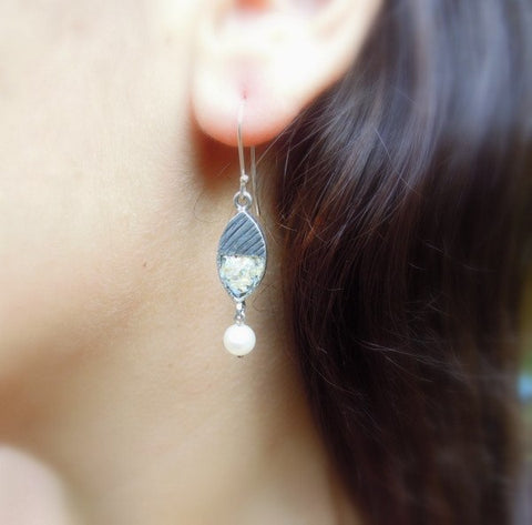 Earrings - Line Design Pearl Silver And Roman Glass Earrings