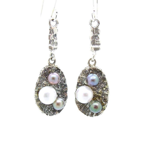 Earrings - Matching Set Pearl Earrings Set In Sterling Silver