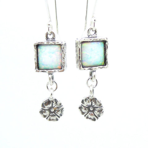 Earrings - Opal Earrings With Silver Flowers Hanging