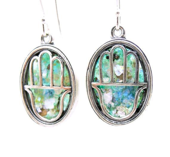 Earrings - Oval Hamsa Earrings With Roman Glass
