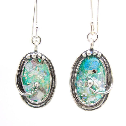 Earrings - Oval Shaped Sterling Silver Earrings With Roman Glass