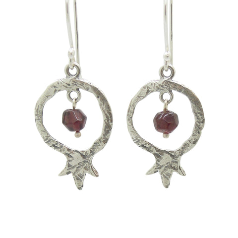 Earrings - Pomegranate And Garnet Earrings, Sterling Silver, Dangle Earrings