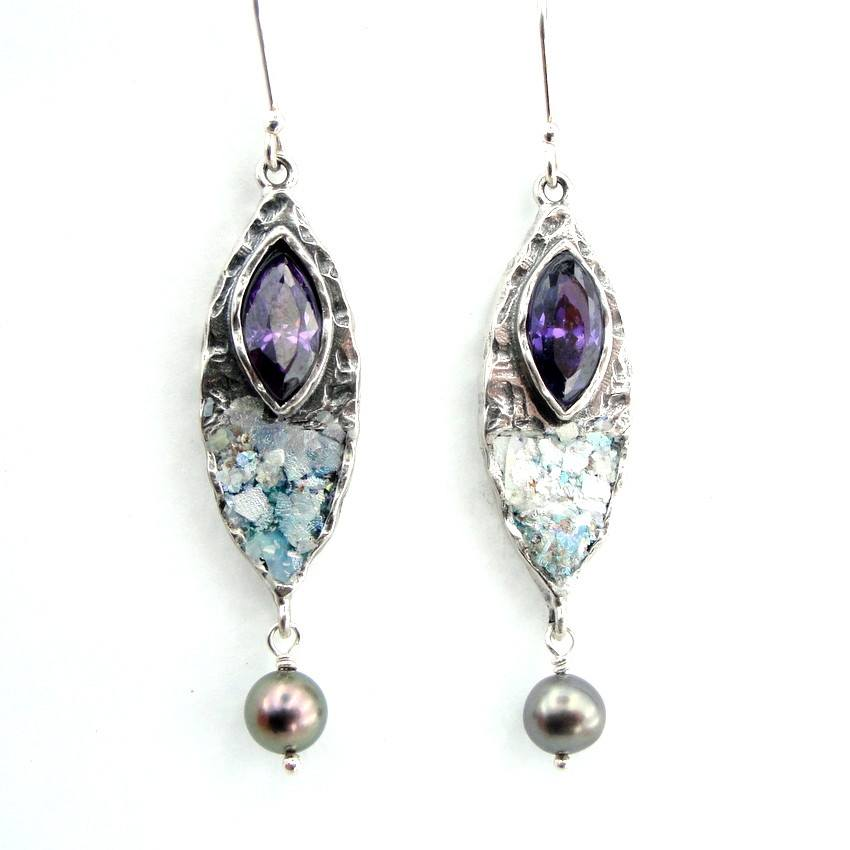 Earrings - Purple Zircon And Grey Pearl Oval Silver Earrings