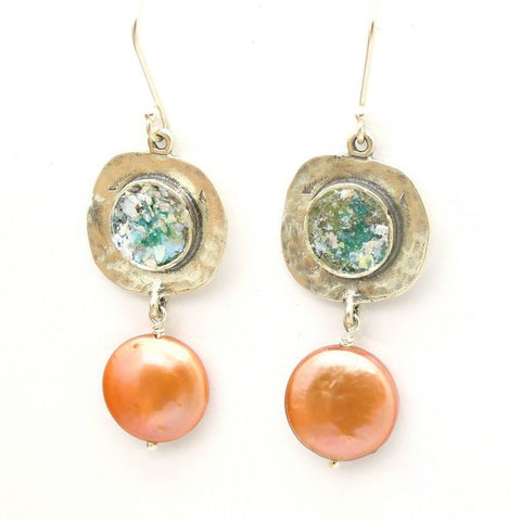 Earrings - Roman Glass  And Copper Pearl Dangle Silver Earrings